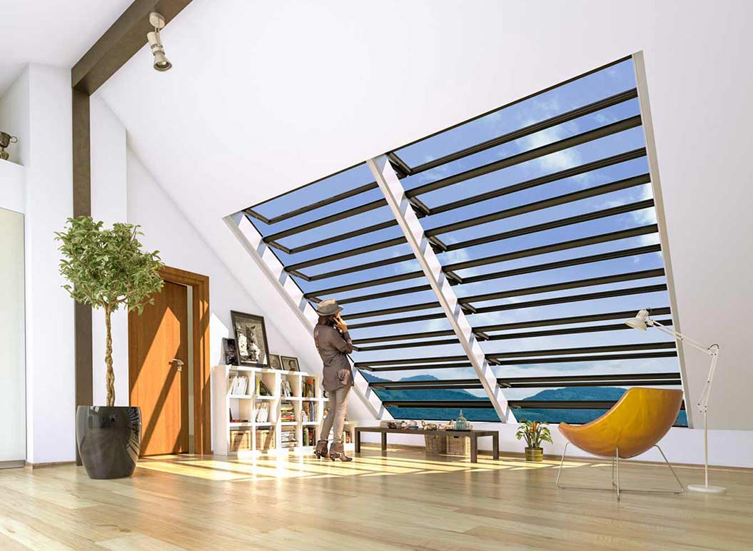 Vallona Lamellenfenster in Dachschräge
